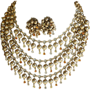 REDUCED Vintage 3 strand gold tone cha cha necklace and earrings