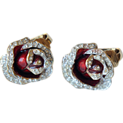 REDUCED Vintage B & W Butler and Wilson red enamel rose and Swarovski crystal earrings