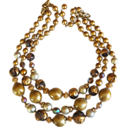 REDUCED Vintage Deauville 3 strand gold-tone beads necklace