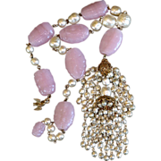 REDUCED Vintage signed Miriam Haskell pink art glass & faux pearl necklace dove clasp