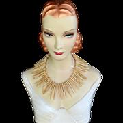 REDUCED Vintage tribal wood bib necklace