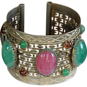 REDUCED Vintage etched silver-toned cuff bracelet with Czech art glass stones