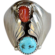 REDUCED Vintage  Native American unisex sterling silver coral and turquoise signed ring
