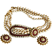 signed Eugene vintage three strand faux pearl red beads choker necklace and earrings