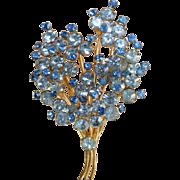 Vintage Made In Austria blue crystal spray brooch