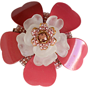 Vintage signed Stanley Hagler NYC pink and white flower brooch/pin