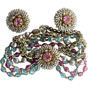 Vintage Miriam Haskell signed baroque pearl pink blue bracelet and earrings
