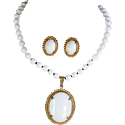 Vintage signed Miriam Haskell white milk glass necklace and earrings