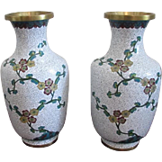 Antique pair Chinese white cloisonne floral vases