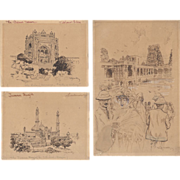 REDUCED William Henry Drake (1856-1926) Lot of Three Pen & Ink Drawings c.1900