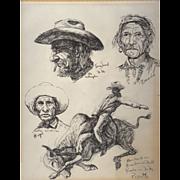 REDUCED Fine Art Native American Sketches by Gregory Perillo