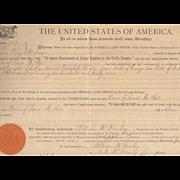 REDUCED Oklahoma Homestead Document c.1860's