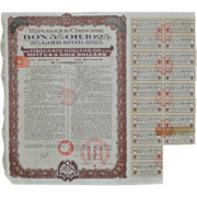 Lot of Five Repubilque Chinoise Gold Bonds c.1925