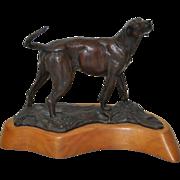 REDUCED Patinated Bronze Hound by Veryl Goodnight c.1988