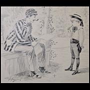 Original Pen & Ink Illustration by Samuel D. Ehrhart for Puck Magazine c.1900