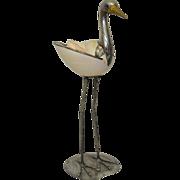 REDUCED Italian Silver Plate & Shell Stork by Gabriella Binazzi
