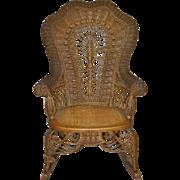 REDUCED Rare Victorian Era Heywood Wicker Rocking Chair c.1894