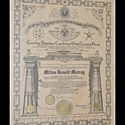 REDUCED House of  Solomon's Masonic Certificate c.1917