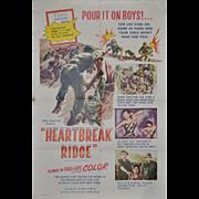 "REDUCED Vintage Korean War Movie Poster ""Heartbreak Ridge"" c.1955"