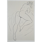 REDUCED Vintage Sixties Figural Female Nude Pen & Ink by Hagedorn
