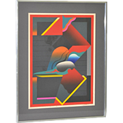 "REDUCED Vintage Silkscreen Print ""Red Magic II"" c.1970's"