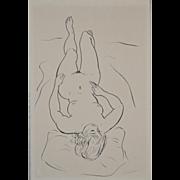 REDUCED Vintage 1960's Figural Nude Pen & Ink
