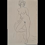 REDUCED Mid Century Figural Nude Pen & Ink c.1959