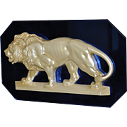 REDUCED Rare Art Deco Cobalt Mirror & Pearlized Hydro-Stone Lion Wall Plaque by House of ...