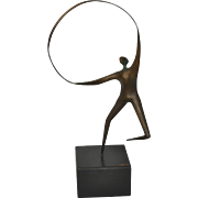 REDUCED Curtis Jere Patinated Bronze Figure w/ Hoop c.1970