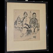 REDUCED Gertrude Albright (1874-1959) Original Pen & Ink c.1910