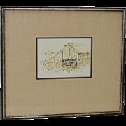 Nancy Johnson (1920-2001) Barn Sketch c.1970's