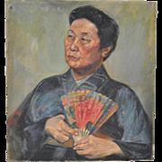 Vintage Oil Painting Asian Woman w/ Fan
