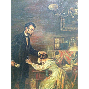 Original Oil Painting Abraham Lincoln and Mary Todd c.1920's