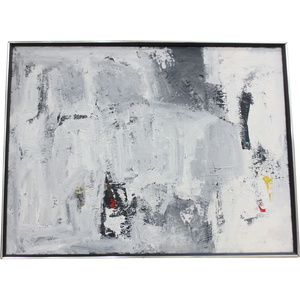 Vintage black white abstract oil painting from antique for Black white canvas paintings