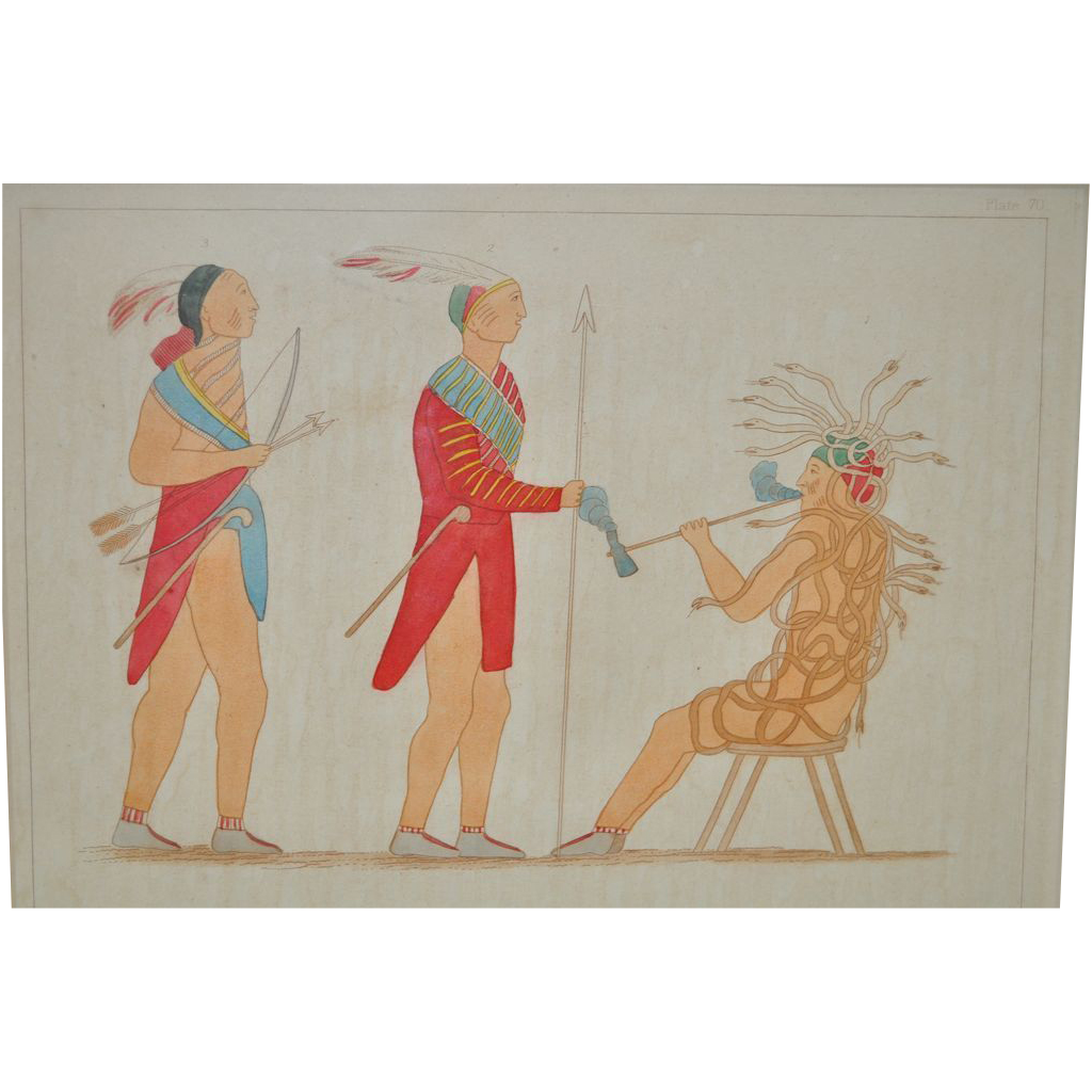Antique Hand Colored Native Iroquois Tribe Location