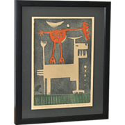 SOLD Mid Century Woodblock Print c.1959
