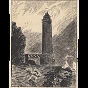 Original Pen & Ink Drawing by G. John - Lighthouse c.1931