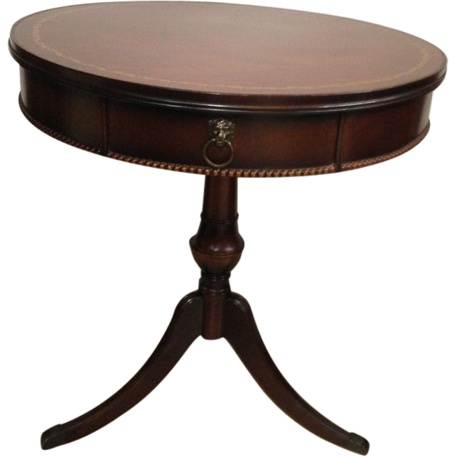 Vintage 1950s Mahogany Leather Top Drum Table From
