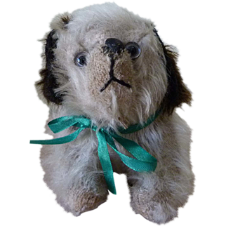 REDUCED Sweet Crouching 1920s Straw Stuffed Dog Toy