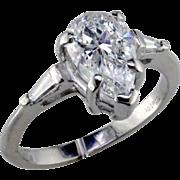 Stunning 2 ct D SI2 Pear Diamond in Baguette Platinum Rings