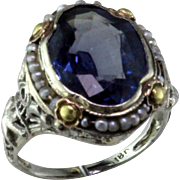 Unusual Color Change Synthetic Sapphire Seed Pearl Art Deco Filigree 18 Karat Gold Ring