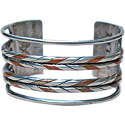 William Spratling Silver and Copper Cuff Bracelet