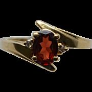 SALE Garnet and Diamond Ring Yellow Gold Size 7.5