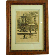 Framed Original Signed Etching Albert R. Thayer Brewer Fountain Boston, MA Winter Scene Mother