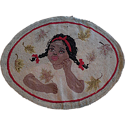 "Exquisite Hooked Rug African American Girl Dreaming Wool Burlap 26 x 34"""