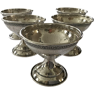 Antique Sterling Silver Set of 5 Dessert Sherbet Dishes Missing Glass Inserts Perfect for Nuts, Bonbons, etc.