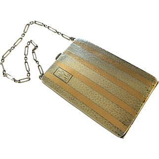 1920s Art Deco Sterling Silver and 14K Gold Watrous Mfg Co Dance Purse Compact Coins Money Clip Business Cards Chain 4.1 Oz