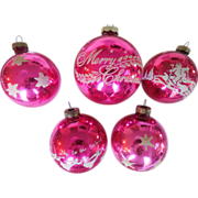 Vintage 1940s-50s Set of 5 Shiny Brite Brand Pink Stenciled Glitter Blown Glass Christmas ...