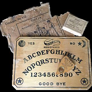 Vintage 1920s Ouija Board Set William Fuld Includes Wood Board, Board's Box, Original Planchette and Its Box