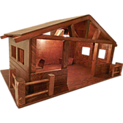 Vintage Large Hand Crafted Electrified Wooden Nativity Stable